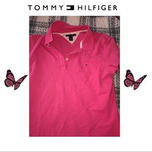 Tommy Hilfiger pink polo short sleeve